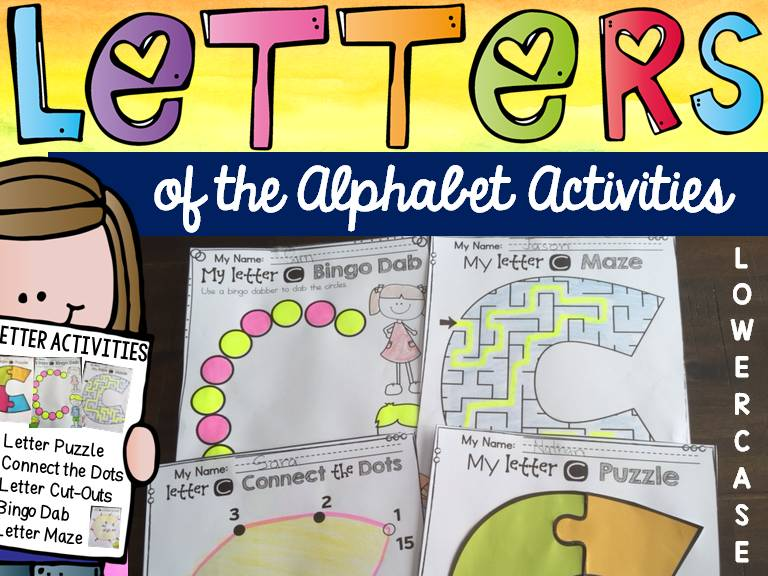 LETTERS OF THE ALPHABET ACTIVITIES: LOWERCASE