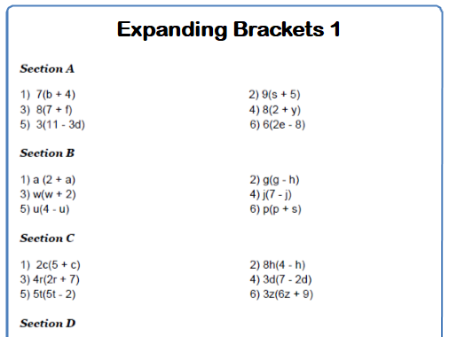 Expanding Brackets Maths Worksheets and Answers