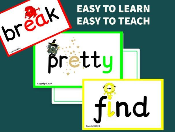 Tricky Words Flashcards - Year 2 Monster Phonics Common Exception Word Cards