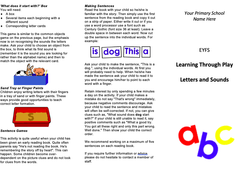 EYFS Literacy Leaflet for Parents