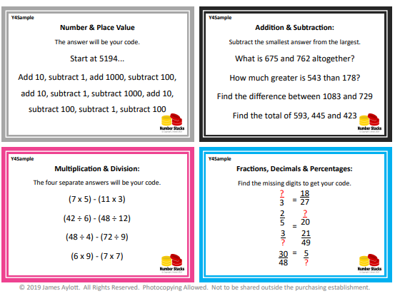 Maths Puzzle Box Challenges - Yr4
