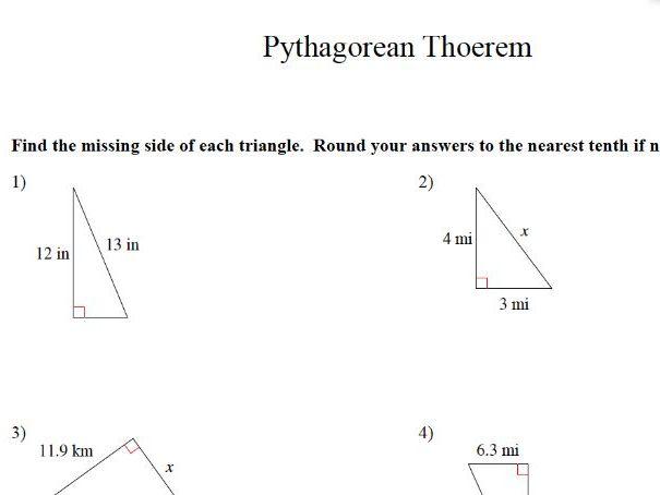 GCSE Maths Revision Worksheet: Pythagoas