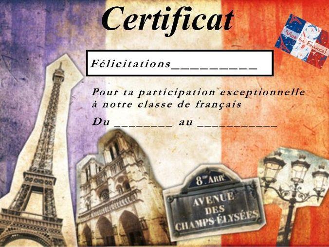 General French certificate 9/ Certificat de francais 9