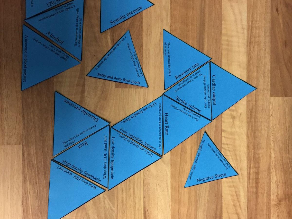 GCSE PE Edexcel 9-1 PAPER 1 Tarsia Triangle Puzzle Set