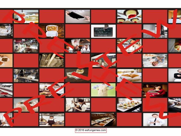 Restaurants Fast Food and Eating Out Checker Board Game