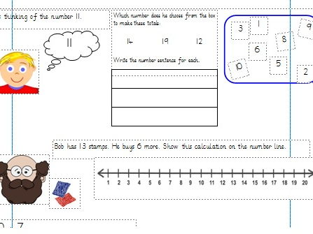 Adding Numbers to 20 Differentiated Worksheets Year 1 (White Rose)
