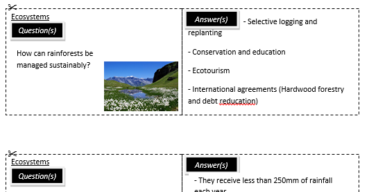 New AQA Ecosystems revision cards