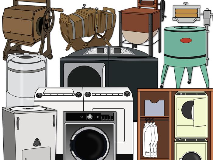 Washing Machine clip art: evolution