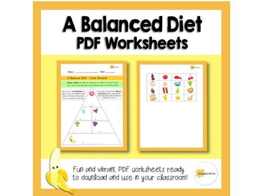 A Balanced Diet | Food Pyramid | PDF Worksheet | KS1 |PSHE