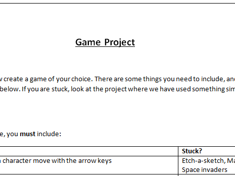 KS3 Scratch Game Project
