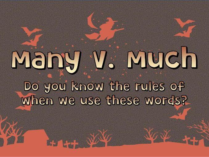 Halloween themed English grammar activity - Many v. Much