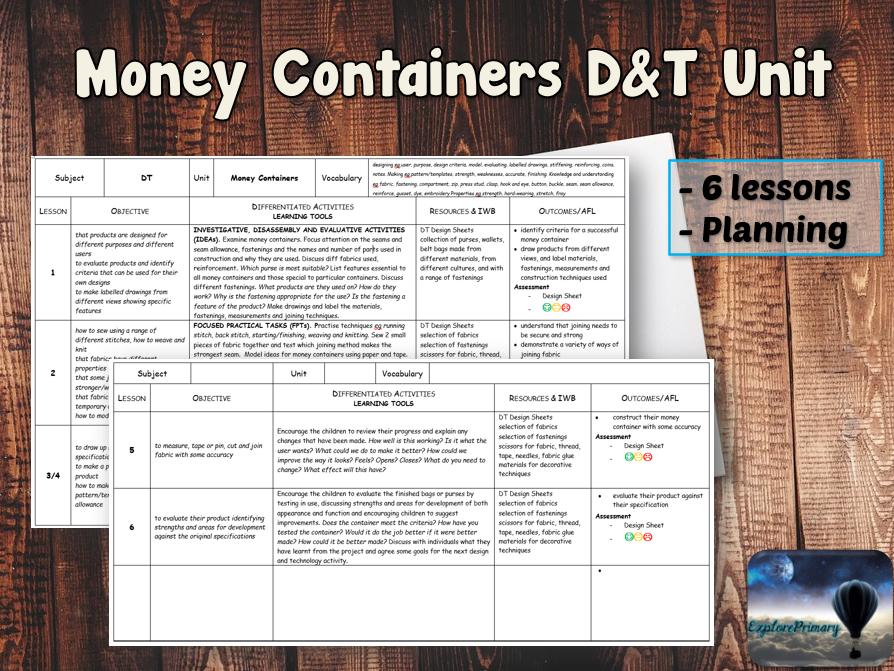 MONEY CONTAINERS D&T Unit - 6 Lessons