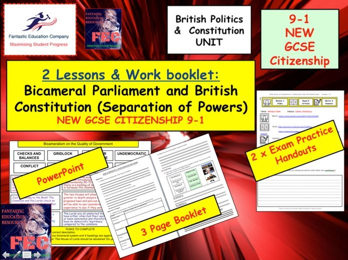Bicameral Parliament Separation of Powers & British Constitution NEW GCSE Citizenship (9-1)