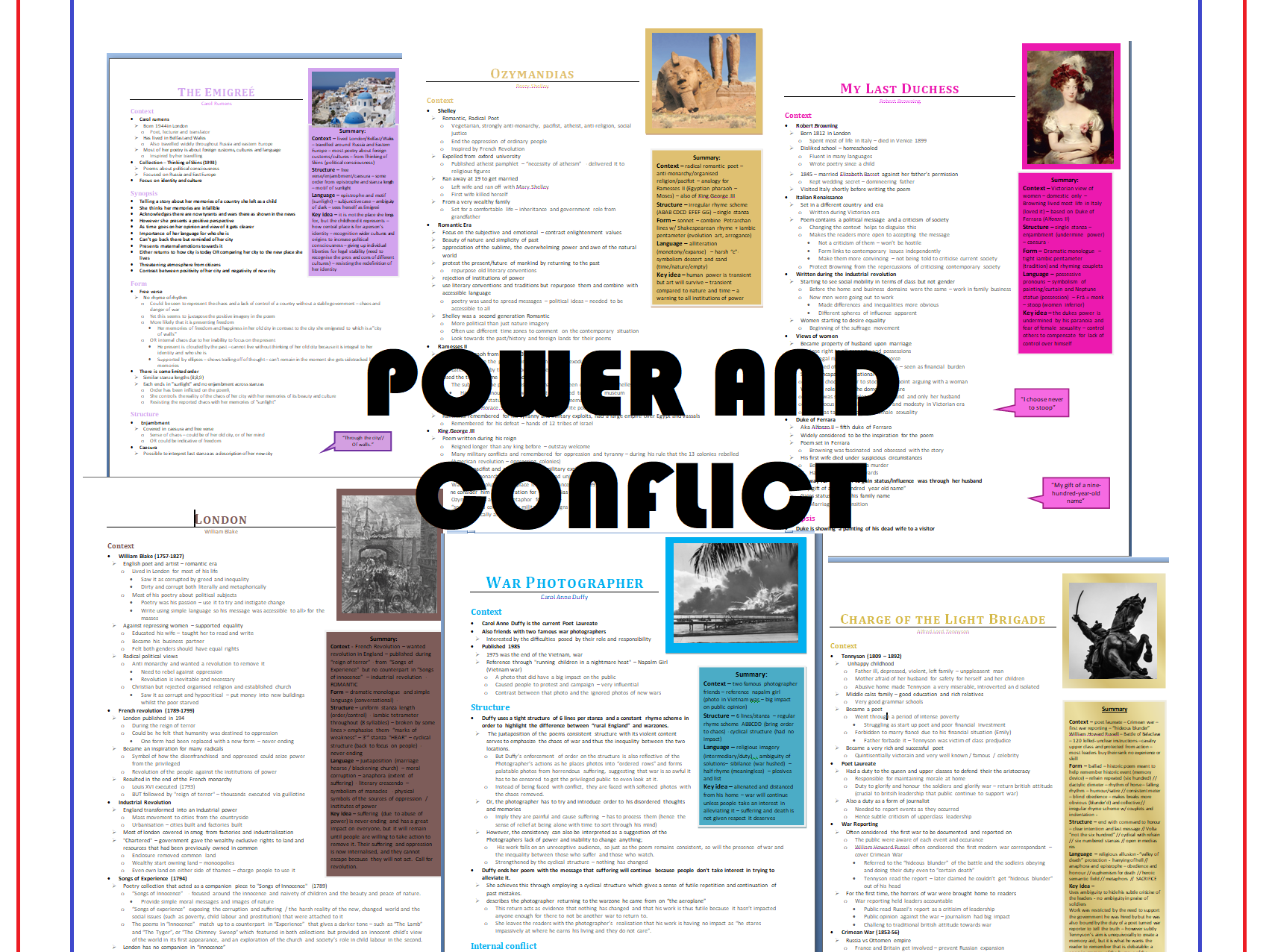 AQA Grade 9  Power and Conflict Poem Revision Guides (94 Pages!!!)
