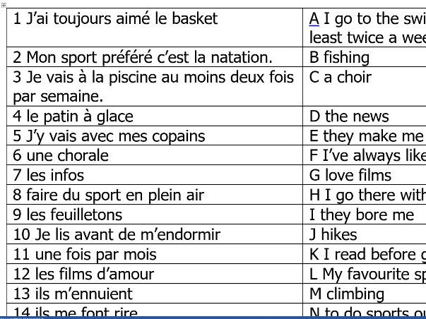 Leisure activities - match phrases activity.