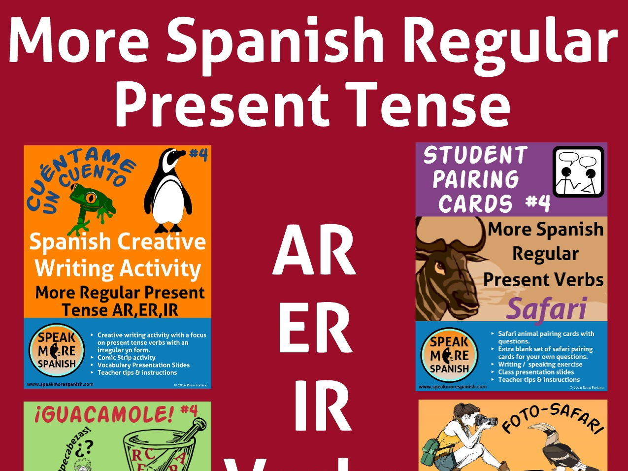 MORE Spanish Regular Present Tense BUNDLE #4. Presente Verbos Regulares AR,ER,IR