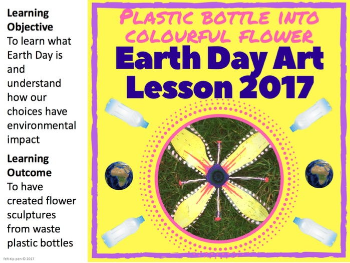 Flowers from plastic bottles: Earth Day art lesson