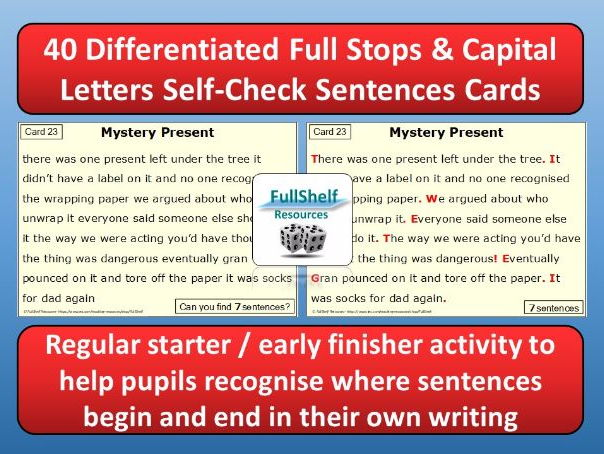 Full Stops / Capital Letters Cards (KS2)