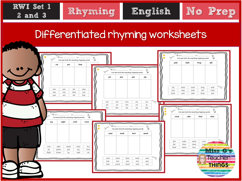 Differentiated rhyming worksheets - Reception/Year 1/ Year 2 - RWI set 1,  2 and 3 sounds phonics