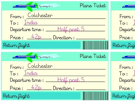 Travel the World editable plane tickets for role-play area