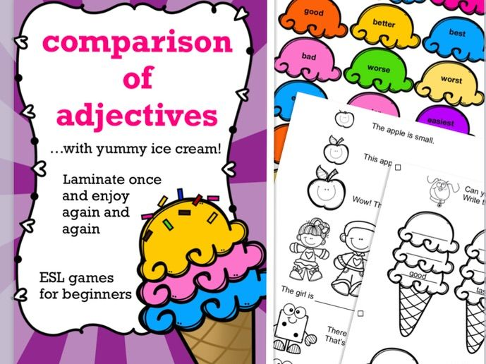 Comparison of adjectives for young learners, ESL - have fun with the ice cream game plus worksheets