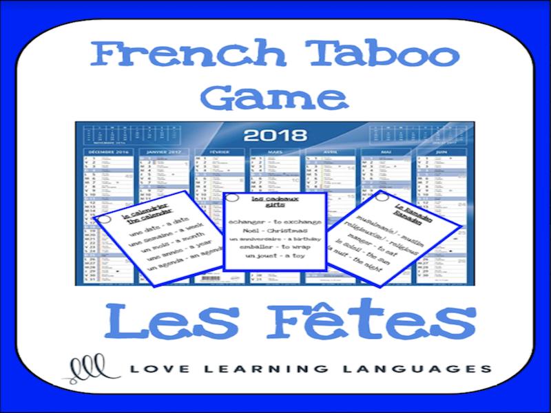 Les fêtes et les jours fériés - French taboo speaking game - Holidays