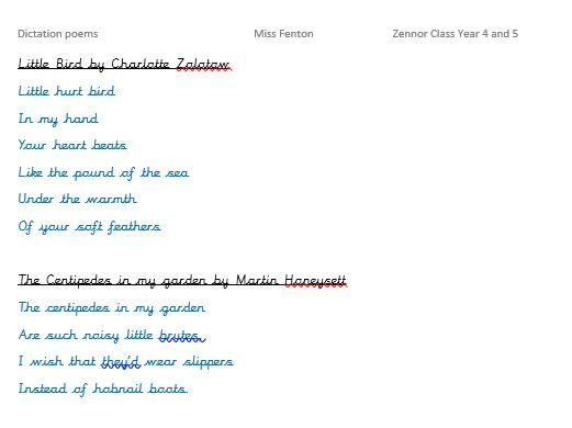 Dictation Poems
