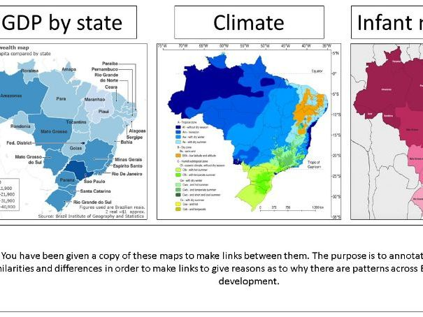 Regional inequality and development - Brazil and UK North South divide - AQA & Eduqas