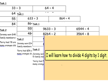 Division with remainders 4 by 1