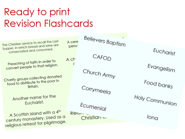 AQA GCSE RS Christian Practices Flashcards set