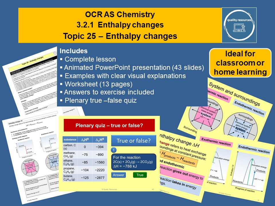 Enthalpy changes OCR AS Chemistry