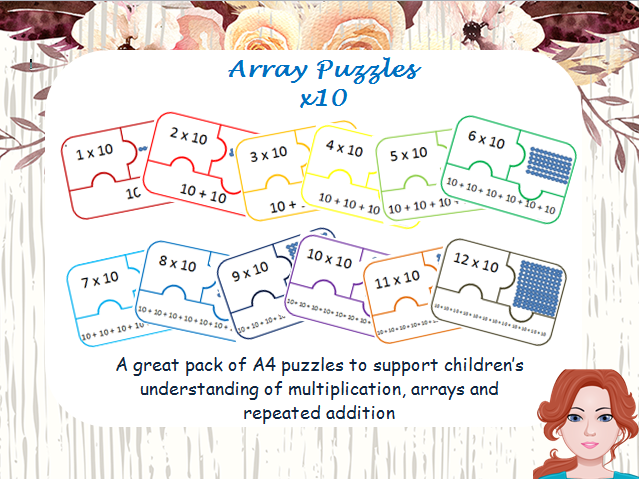 Array puzzle and repeated addition x10