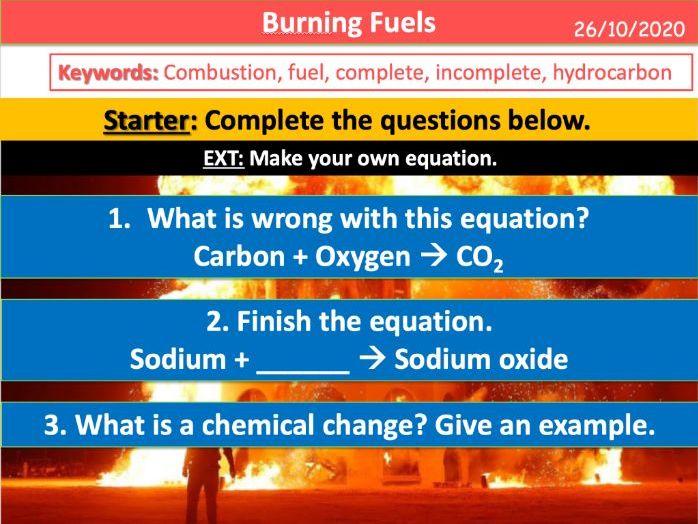 Burning Fuels