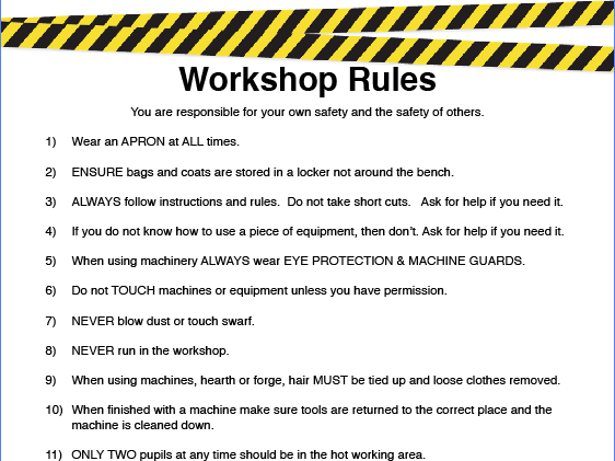 Engineering Workshop Health Amp Safety Rules Poster