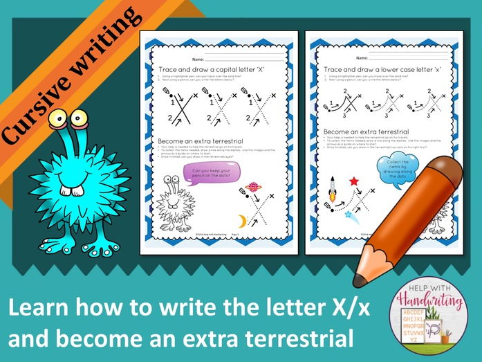 Learn how to write the letter X (Cursive style) and become an extra terrestrial