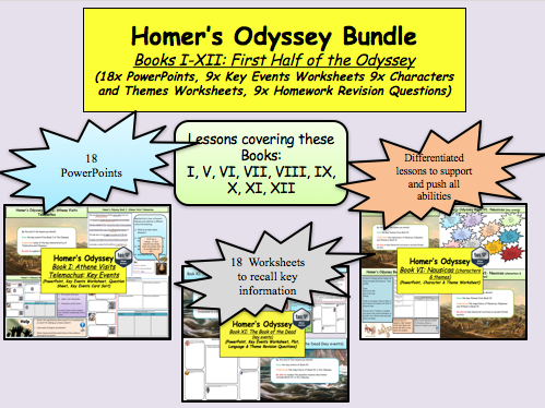 Homer's Odyssey – Books I-XII Bundle (first half of the Odyssey) 18x lesson and more