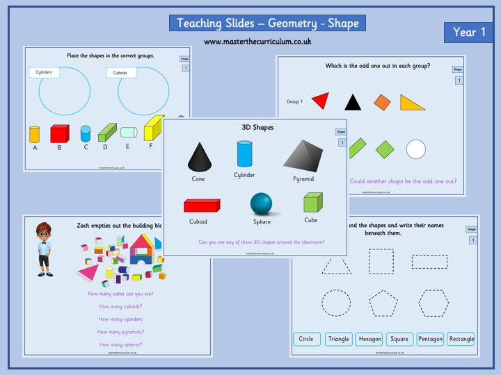 Year 1- Autumn 1- Block 3- Geometry- Shapes- Fluency Teaching Slides White Rose Style