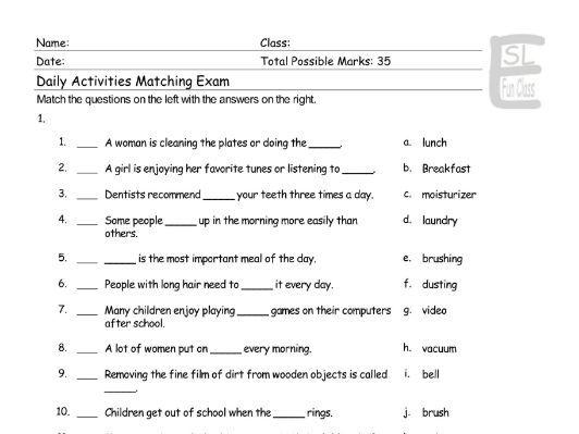 Daily Activities Matching Exam
