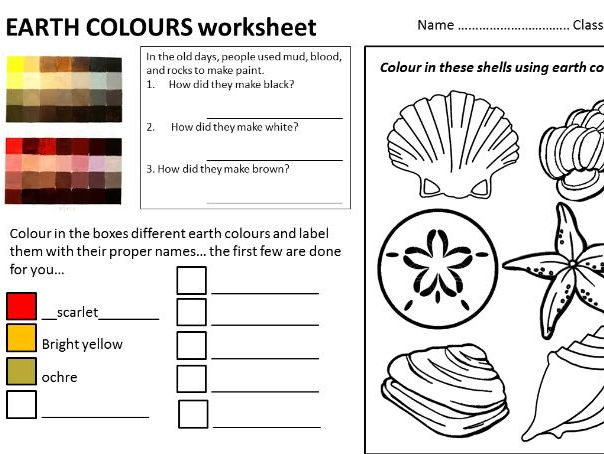 Earth Colours - Colour theory research worksheet (ART lesson)