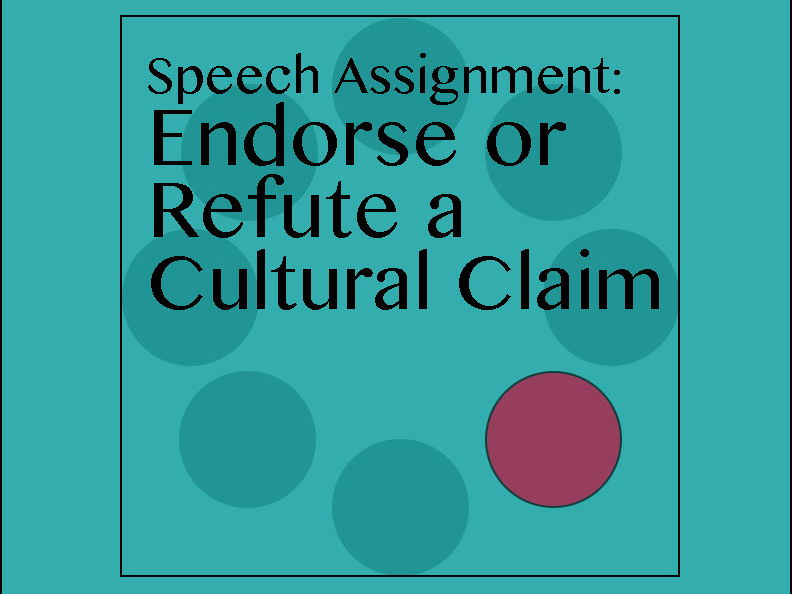 12th Grade English Speech Assignment: Endorse or Refute a Cultural Claim