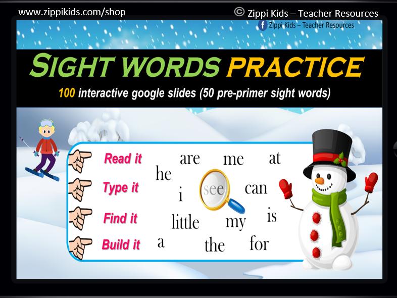 Winter Sight Words | Activities| Read, Type, Find & Build – 100 Google Slides