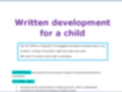 Revision booklet for -Child language-Written
