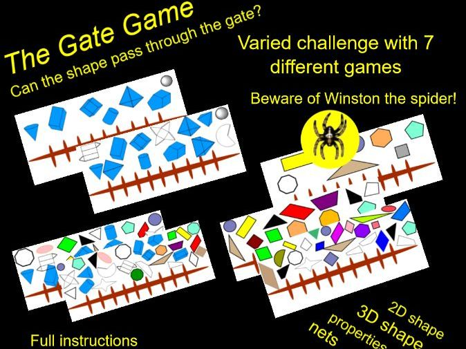 Properties of Shape Game Starter: 2D, 3D and nets. 6 Difficulty Levels