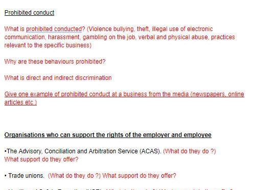 BTEC BUSINESS Unit 24: Employment Law-assignment plans