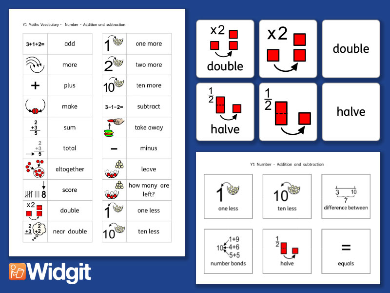 Calculations Pack - Maths Vocabulary with Widgit Symbols
