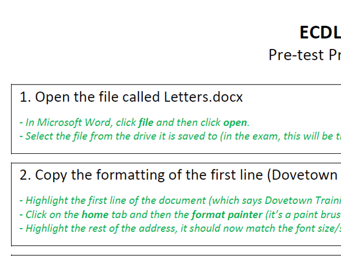 BCS ECDL Word Processing Microsoft Word Practice Test / Preparation Activities - including help!