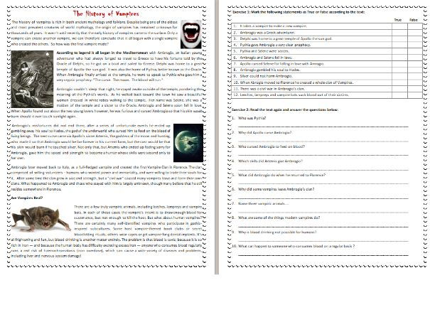 The History of Vampires - Halloween Reading Comprehension Worksheet