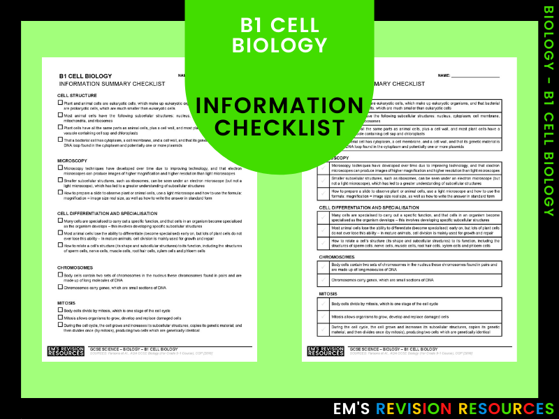 B1 Cell Biology [Information Checklist]