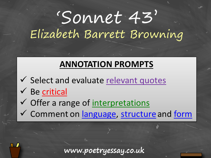 Elizabeth Barrett Browning – 'Sonnet 43' – Annotation / Planning Table / Questions / Booklet