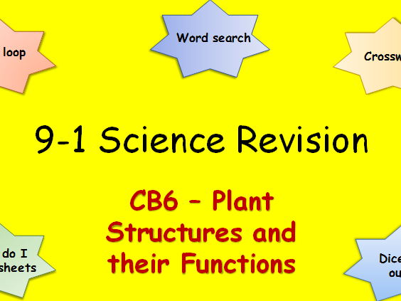 Edexcel CB6 Plant Structures and their Functions Revision pack Science 9-1